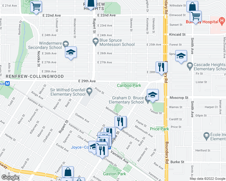 map of restaurants, bars, coffee shops, grocery stores, and more near 3478 Tanner Street in Vancouver