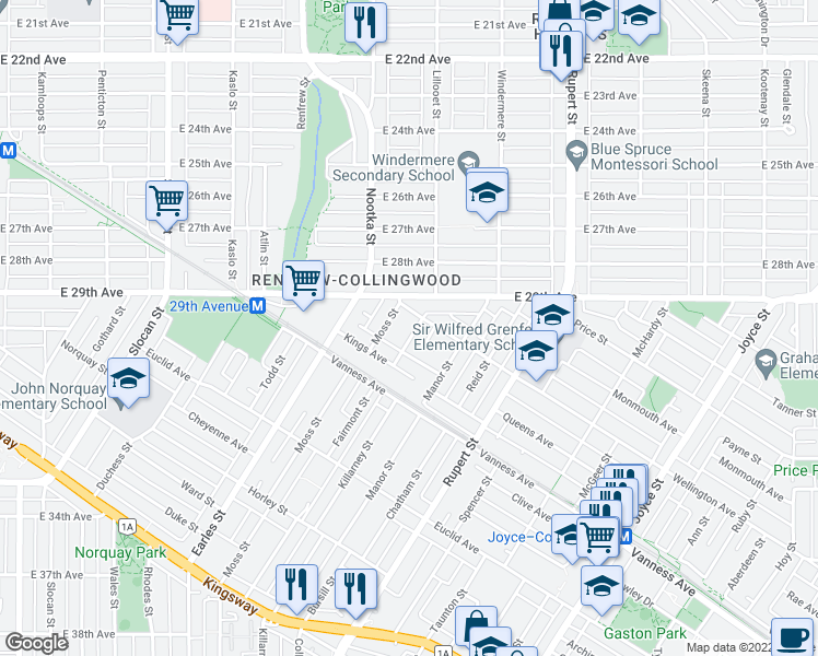 map of restaurants, bars, coffee shops, grocery stores, and more near 4511 Picton Street in Vancouver