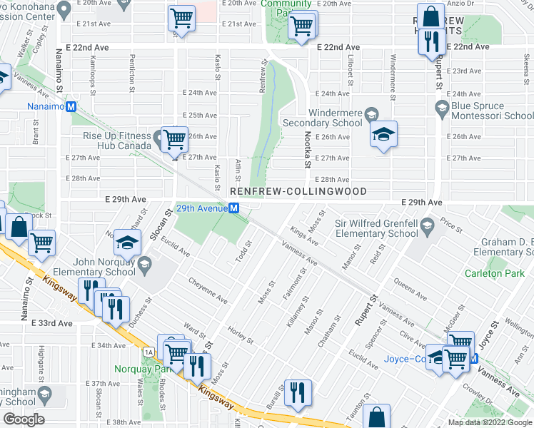 map of restaurants, bars, coffee shops, grocery stores, and more near 2960 East 29th Avenue in Vancouver