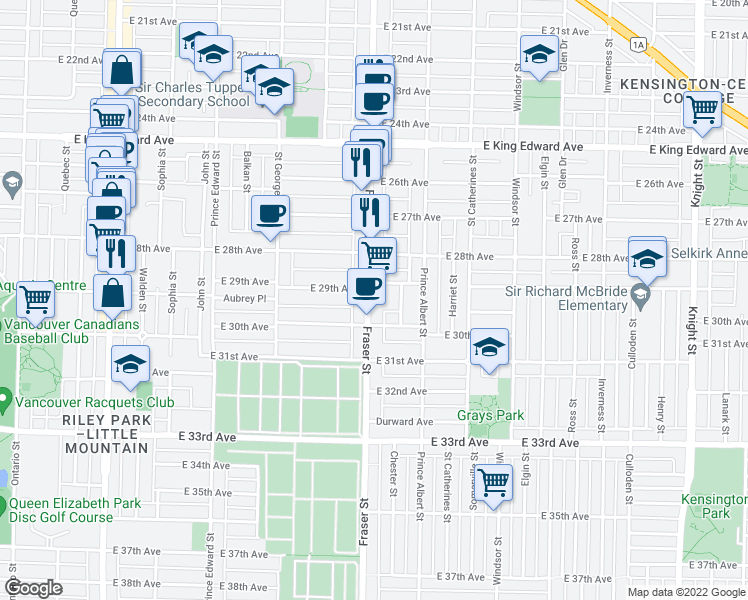 map of restaurants, bars, coffee shops, grocery stores, and more near 4550 Fraser Street in Vancouver