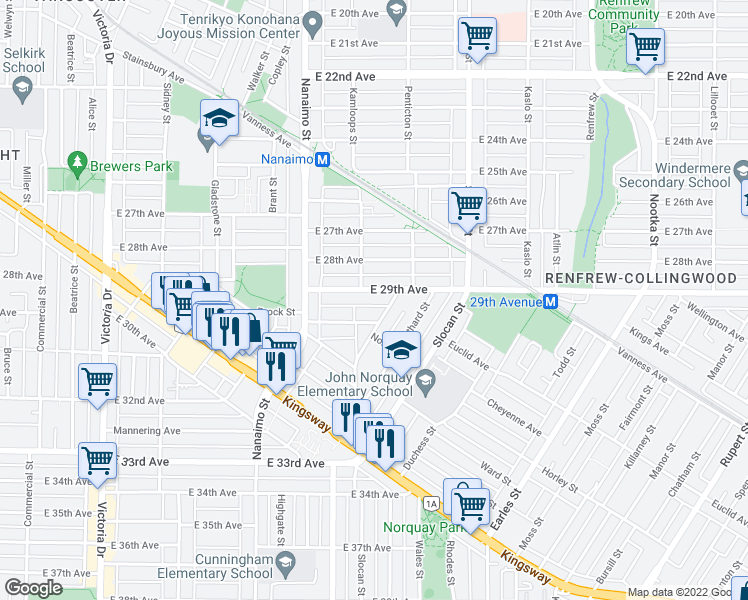 map of restaurants, bars, coffee shops, grocery stores, and more near 2536 East 29th Avenue in Vancouver