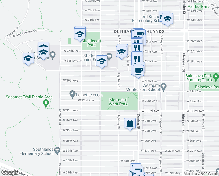 map of restaurants, bars, coffee shops, grocery stores, and more near 3851 West 31st Avenue in Vancouver