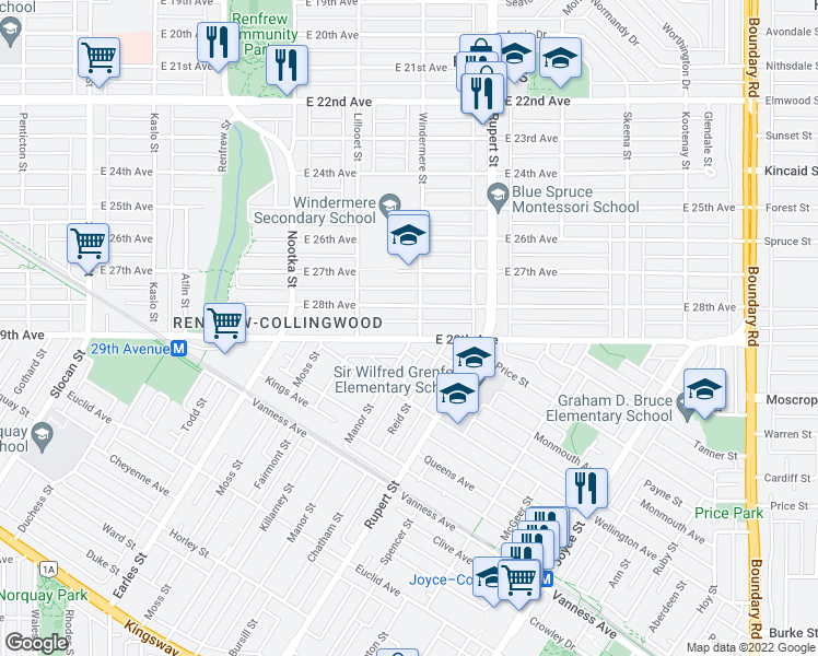 map of restaurants, bars, coffee shops, grocery stores, and more near 3185 East 29th Avenue in Vancouver