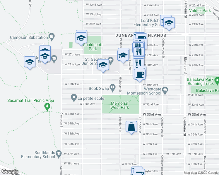 map of restaurants, bars, coffee shops, grocery stores, and more near 3858 West 30th Avenue in Vancouver
