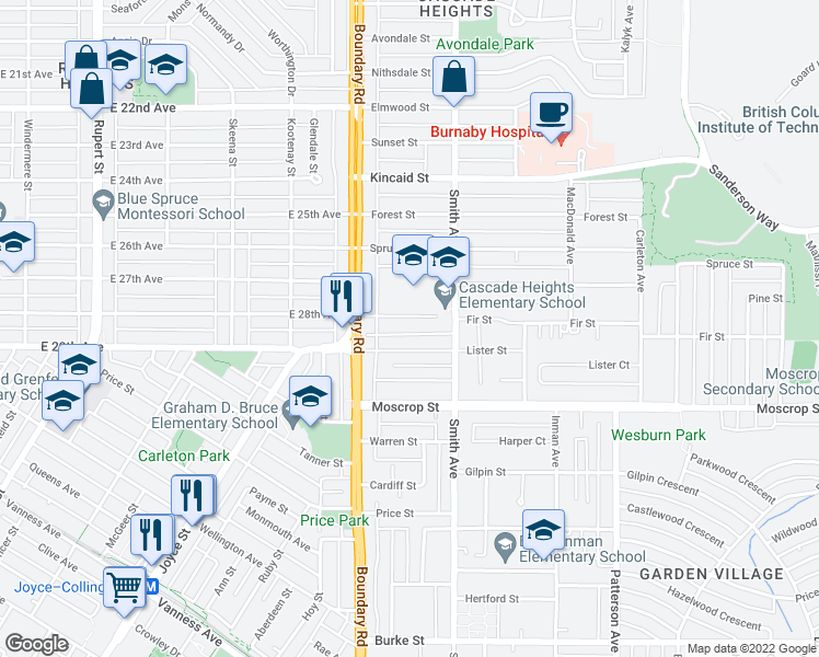 map of restaurants, bars, coffee shops, grocery stores, and more near 3749 Fir Street in Burnaby