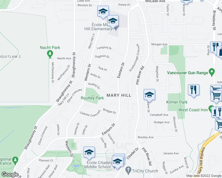 map of restaurants, bars, coffee shops, grocery stores, and more near 2110 Anita Drive in Port Coquitlam