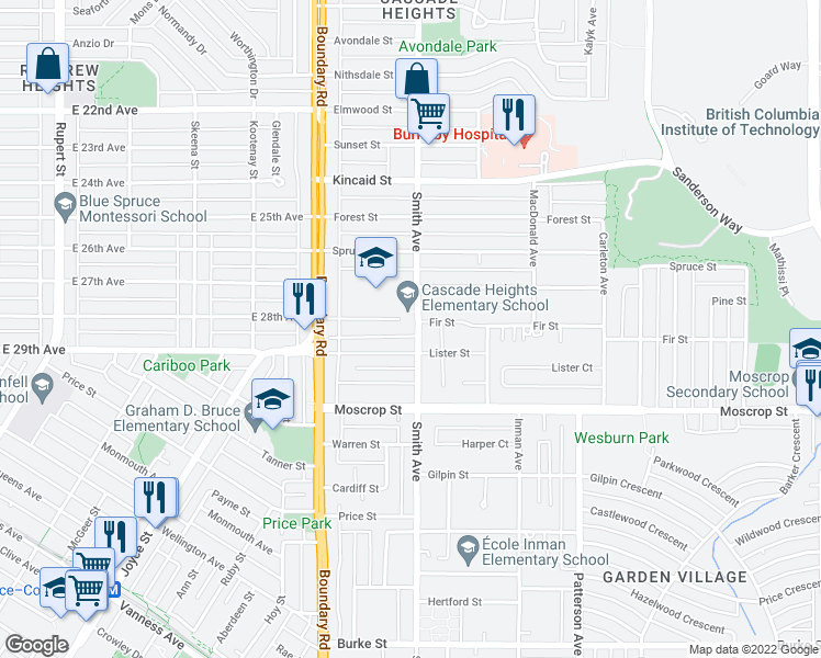 map of restaurants, bars, coffee shops, grocery stores, and more near 3795 Fir Street in Burnaby