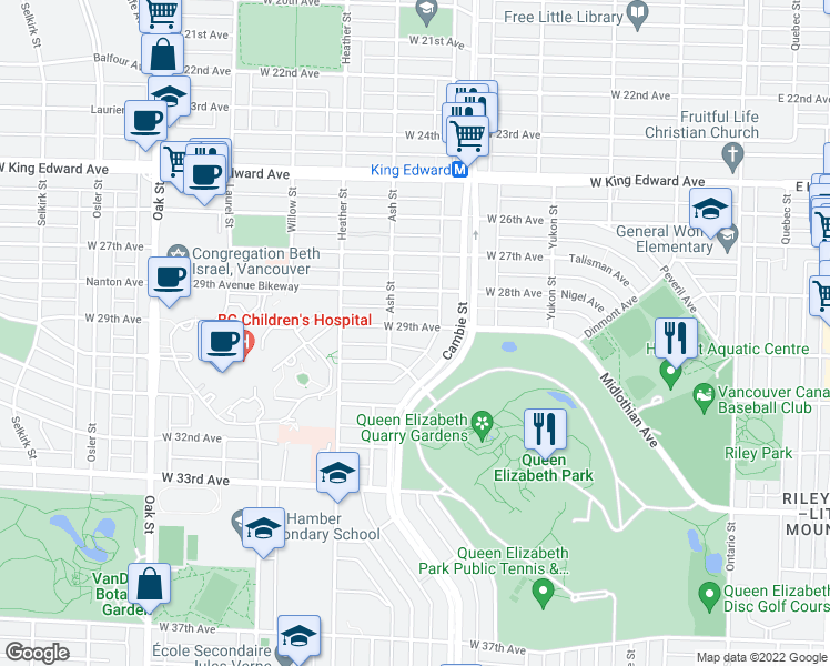 map of restaurants, bars, coffee shops, grocery stores, and more near 550 West 29th Avenue in Vancouver
