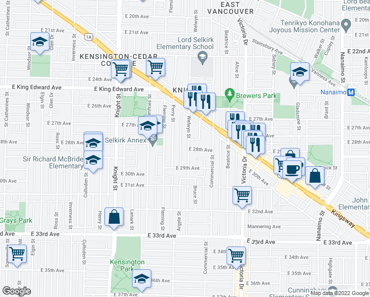 map of restaurants, bars, coffee shops, grocery stores, and more near 4451 Welwyn Street in Vancouver