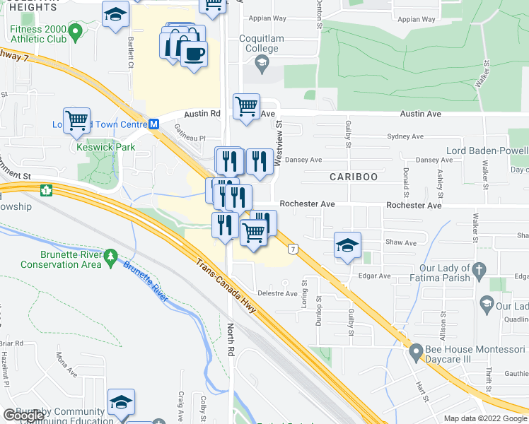map of restaurants, bars, coffee shops, grocery stores, and more near 528 Rochester Avenue in Coquitlam