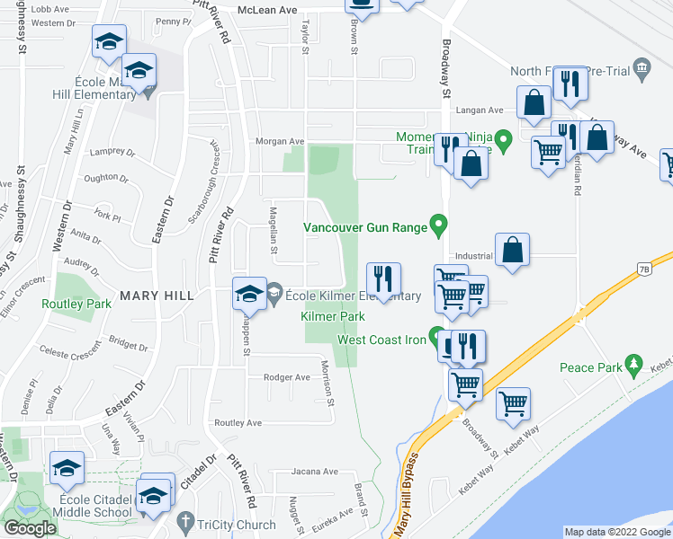 map of restaurants, bars, coffee shops, grocery stores, and more near 1626 Connaught Drive in Port Coquitlam