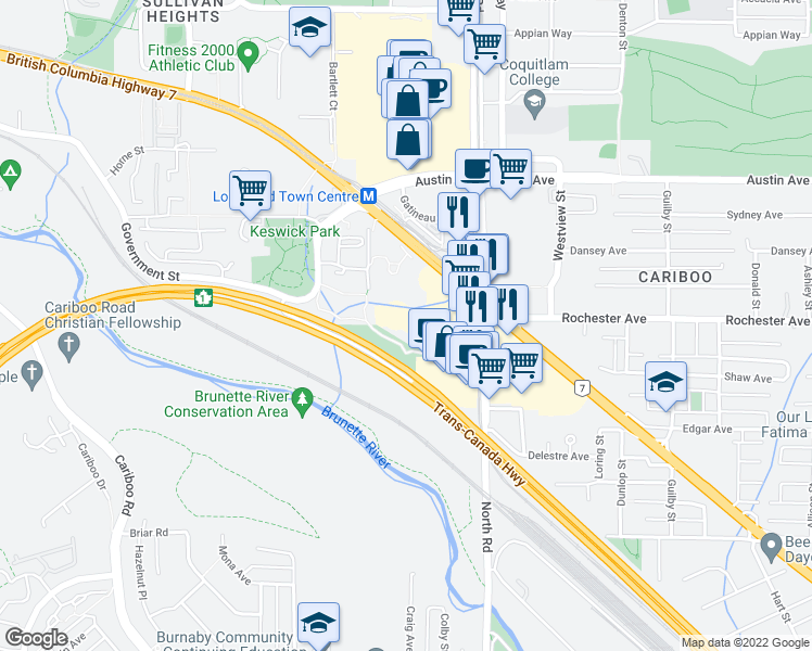map of restaurants, bars, coffee shops, grocery stores, and more near 9891 Millbrook Lane in Burnaby