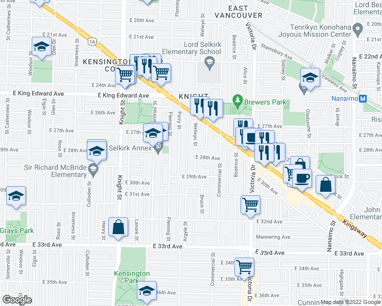 map of restaurants, bars, coffee shops, grocery stores, and more near 4429 Welwyn Street in Vancouver