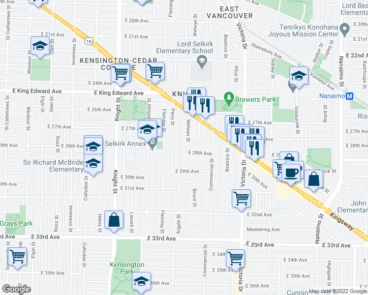 map of restaurants, bars, coffee shops, grocery stores, and more near 4423 Welwyn Street in Vancouver