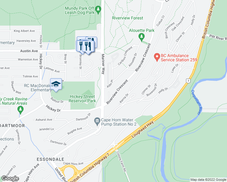 map of restaurants, bars, coffee shops, grocery stores, and more near 410 Riverview Crescent in Coquitlam