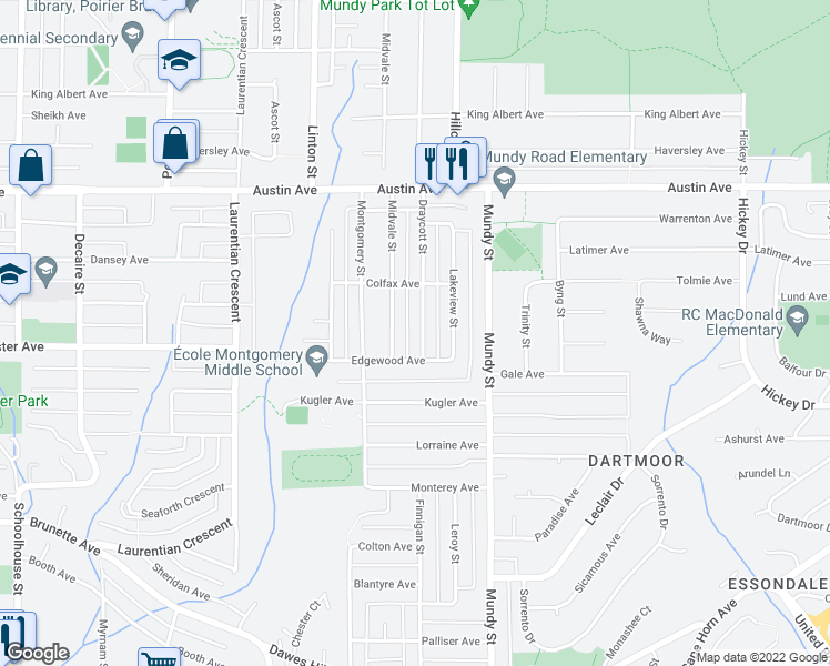 map of restaurants, bars, coffee shops, grocery stores, and more near 418 Draycott Street in Coquitlam
