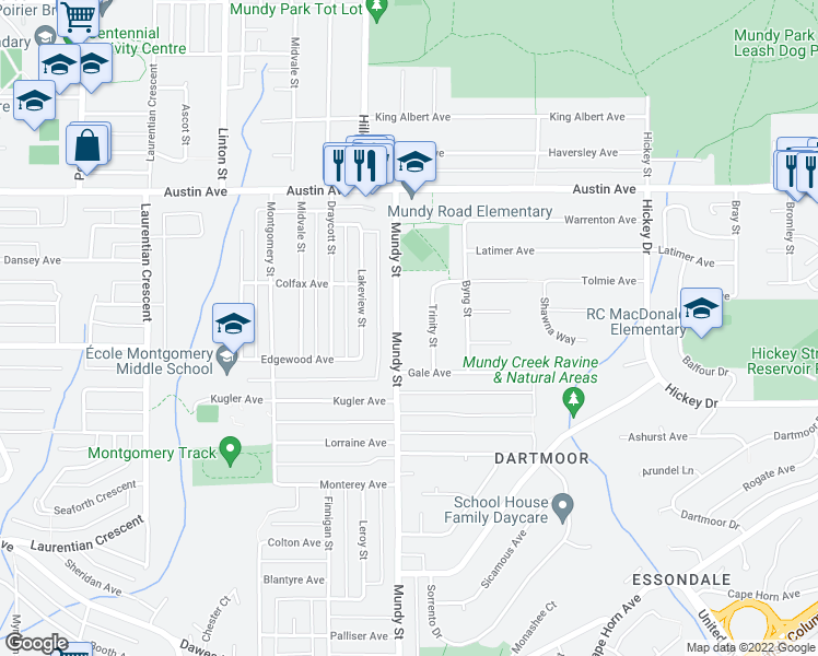 map of restaurants, bars, coffee shops, grocery stores, and more near 419 Mundy Street in Coquitlam