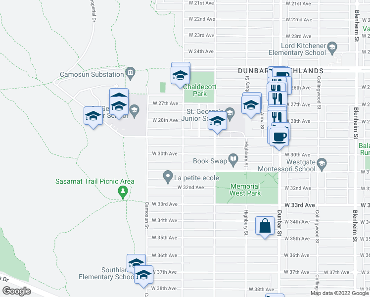 map of restaurants, bars, coffee shops, grocery stores, and more near 4550 Crown Street in Vancouver