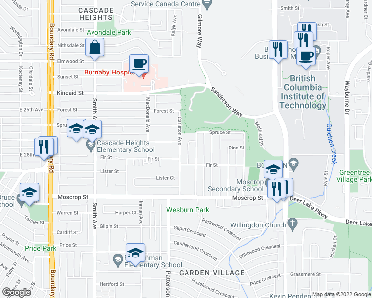 map of restaurants, bars, coffee shops, grocery stores, and more near 4336 Carleton Avenue in Burnaby