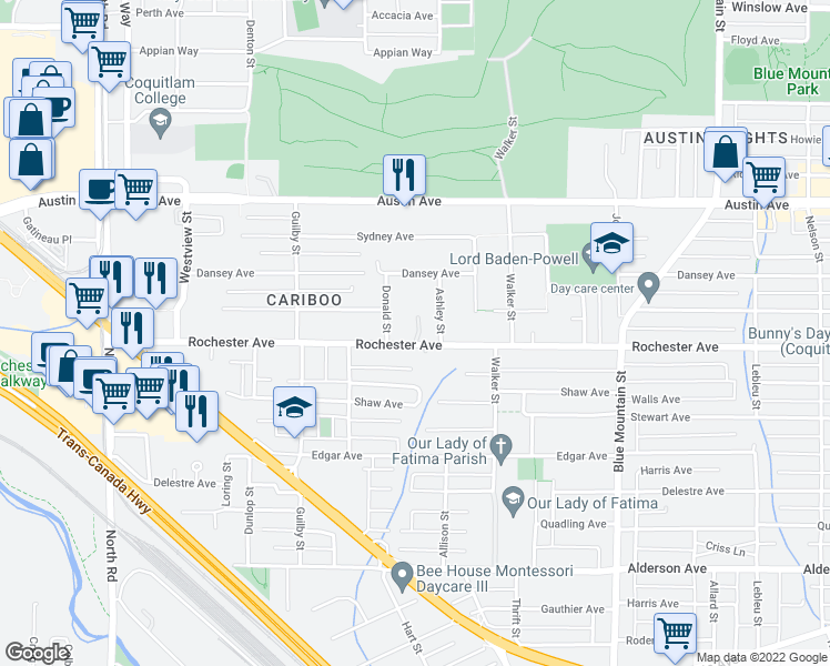 map of restaurants, bars, coffee shops, grocery stores, and more near 725 Rochester Avenue in Coquitlam