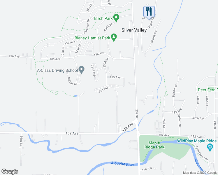 map of restaurants, bars, coffee shops, grocery stores, and more near 23075 134 Loop in Maple Ridge