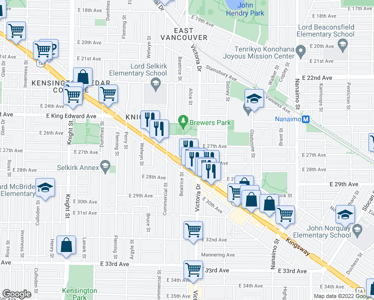 map of restaurants, bars, coffee shops, grocery stores, and more near 4306 Beatrice Street in Vancouver