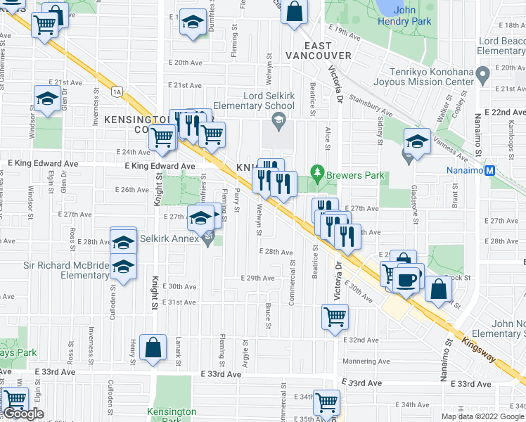 map of restaurants, bars, coffee shops, grocery stores, and more near 4288 Welwyn Street in Vancouver