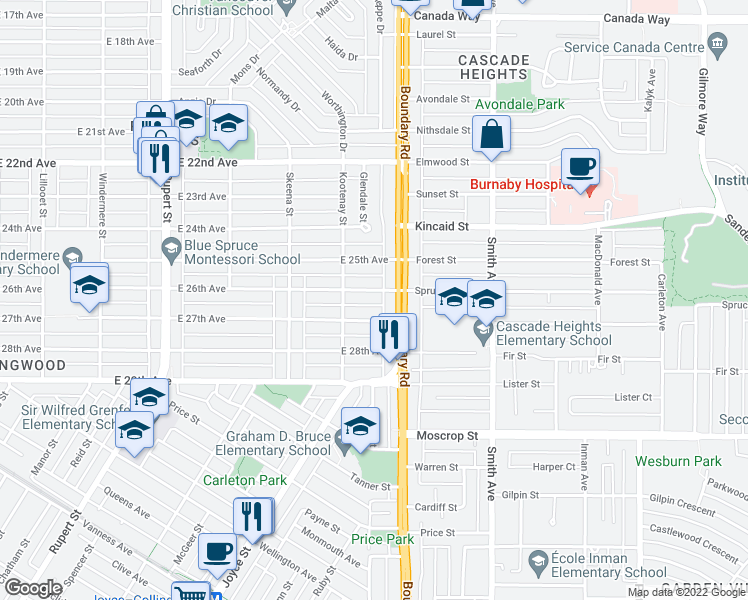 map of restaurants, bars, coffee shops, grocery stores, and more near 3678 East 26th Avenue in Vancouver