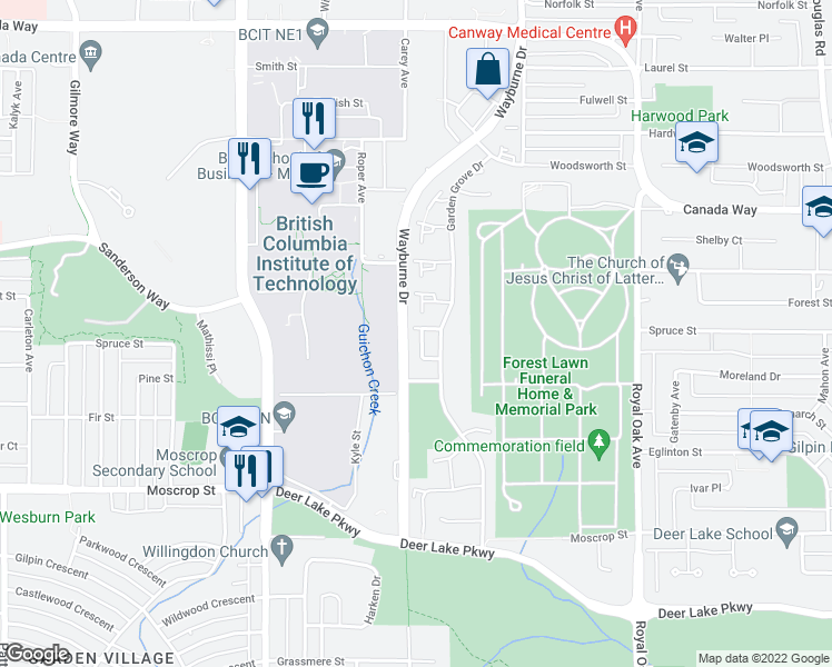 map of restaurants, bars, coffee shops, grocery stores, and more near 4209 Birchwood Crescent in Burnaby