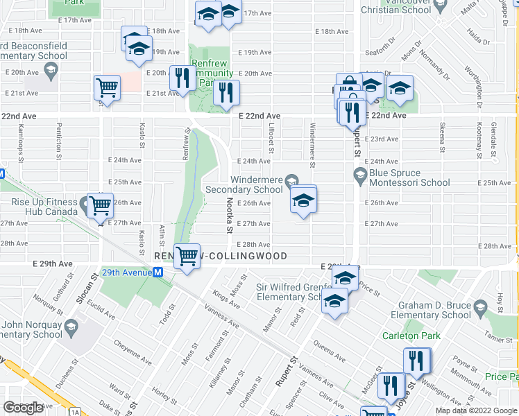map of restaurants, bars, coffee shops, grocery stores, and more near 3072 East 26th Avenue in Vancouver