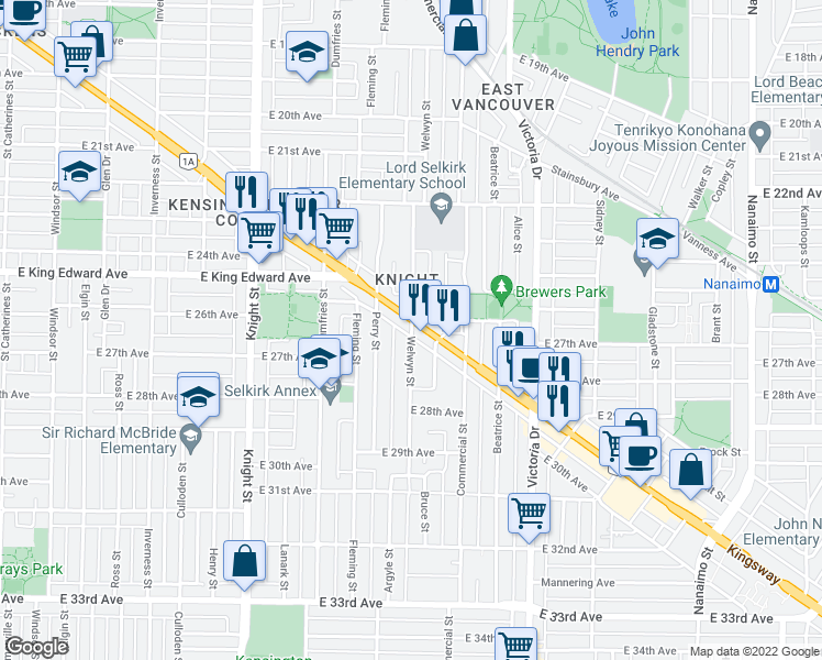 map of restaurants, bars, coffee shops, grocery stores, and more near 4292 Welwyn Street in Vancouver