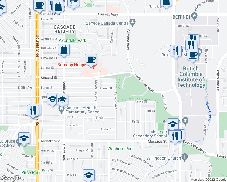 map of restaurants, bars, coffee shops, grocery stores, and more near 4096 Forest Street in Burnaby
