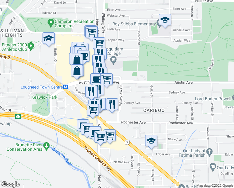 map of restaurants, bars, coffee shops, grocery stores, and more near 450 Westview Street in Coquitlam