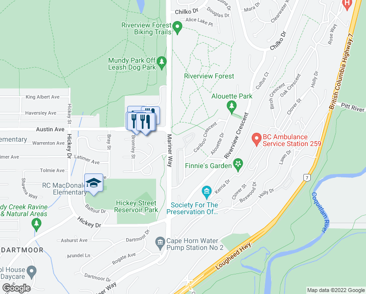 map of restaurants, bars, coffee shops, grocery stores, and more near 2733 Atlin Place in Coquitlam