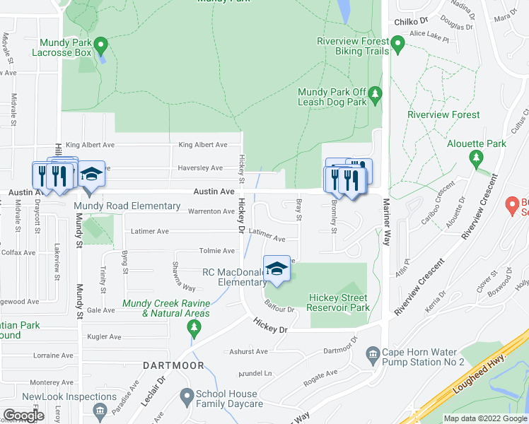 map of restaurants, bars, coffee shops, grocery stores, and more near 2546 Burian Drive in Coquitlam