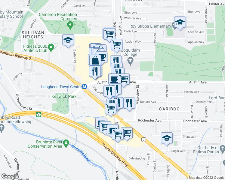 map of restaurants, bars, coffee shops, grocery stores, and more near 3977 North Road in Burnaby