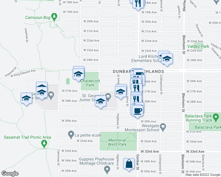 map of restaurants, bars, coffee shops, grocery stores, and more near 3835 West 27th Avenue in Vancouver