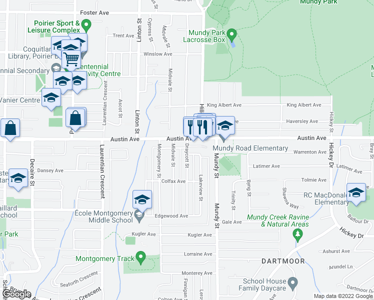 map of restaurants, bars, coffee shops, grocery stores, and more near Draycott Street in Coquitlam