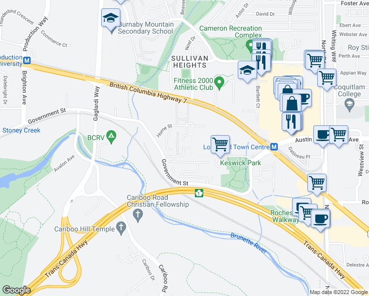 map of restaurants, bars, coffee shops, grocery stores, and more near 9136 Wiltshire Place in Burnaby