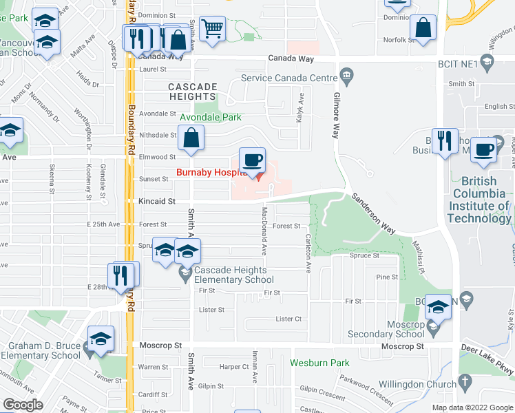 map of restaurants, bars, coffee shops, grocery stores, and more near 3982 Kincaid Street in Burnaby