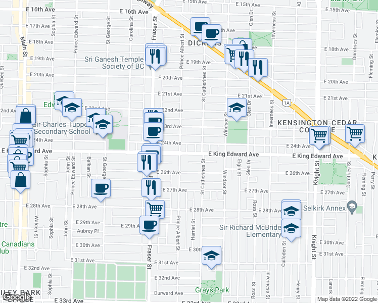map of restaurants, bars, coffee shops, grocery stores, and more near 831 East King Edward Avenue in Vancouver