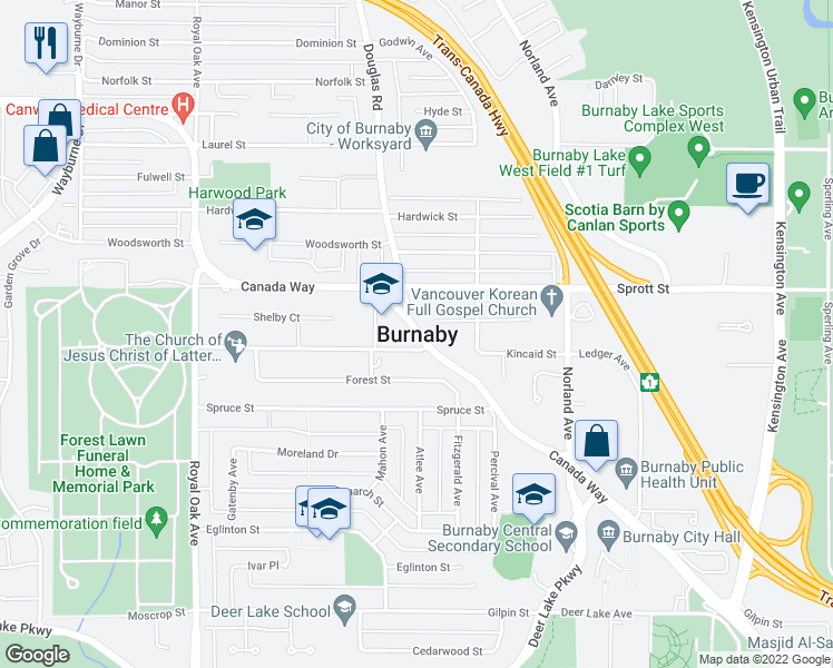 map of restaurants, bars, coffee shops, grocery stores, and more near in Burnaby