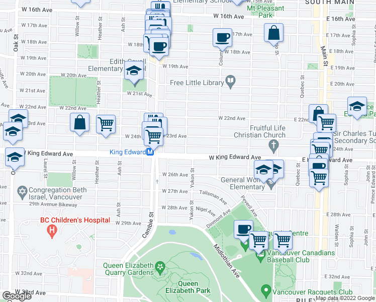 map of restaurants, bars, coffee shops, grocery stores, and more near 4080 Yukon Street in Vancouver