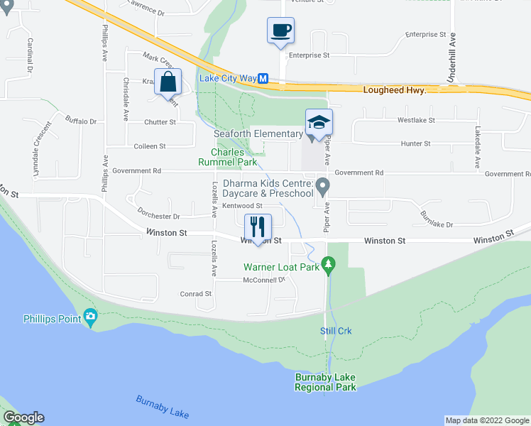 map of restaurants, bars, coffee shops, grocery stores, and more near 7738 Kentwood Street in Burnaby