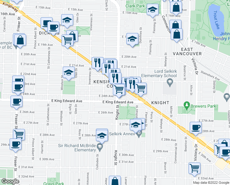 map of restaurants, bars, coffee shops, grocery stores, and more near 3939 Knight Street in Vancouver