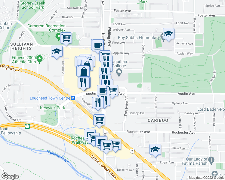map of restaurants, bars, coffee shops, grocery stores, and more near 515 Austin Avenue in Coquitlam