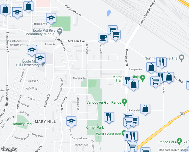 map of restaurants, bars, coffee shops, grocery stores, and more near 1831 Morgan Avenue in Port Coquitlam