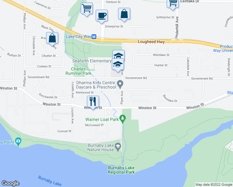 map of restaurants, bars, coffee shops, grocery stores, and more near 3885 Piper Avenue in Burnaby