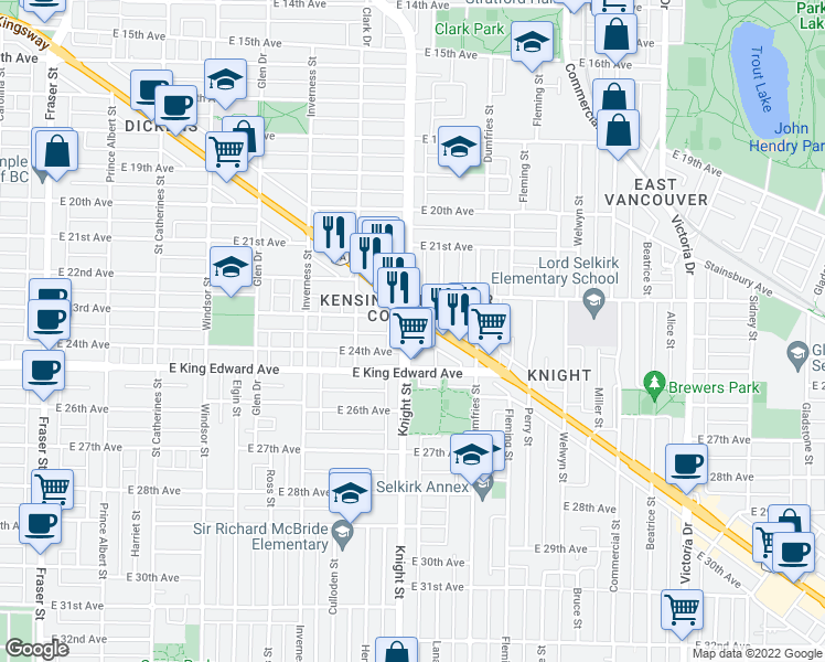 map of restaurants, bars, coffee shops, grocery stores, and more near 4028 Knight Street in Vancouver