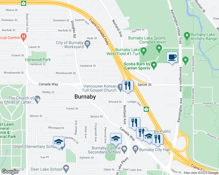 map of restaurants, bars, coffee shops, grocery stores, and more near 5958 Sprott Street in Burnaby